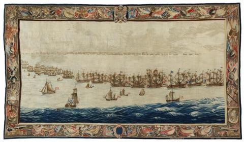 Het aangekochte wandtapijt The Fleets drawn up for Battle.